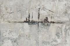 Elbtiefe 40 x 40 cm.  / Malplatte - gerahmt (Nielsen Leiste)