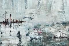 Elbschwimmer  -  H 30 x B 40 cm.  / Acryl auf Leinwand