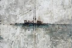 Tide  -  40 x 40 cm.  / Malplatte - gerahmt (Nielsen Leiste)