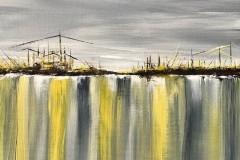 Hafenrand  -  30 x 30 cm.  / Acryl auf Leinwand