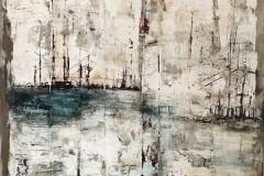 Elbblick  -  50 x 50 cm.  / Acryl auf Holz