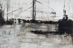 Elbtiefe-II  -  30 x 30 cm.  / Acryl auf Leinwand